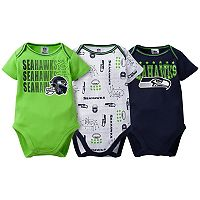 Baby Seattle Seahawks 3-Pack Bodysuit Set