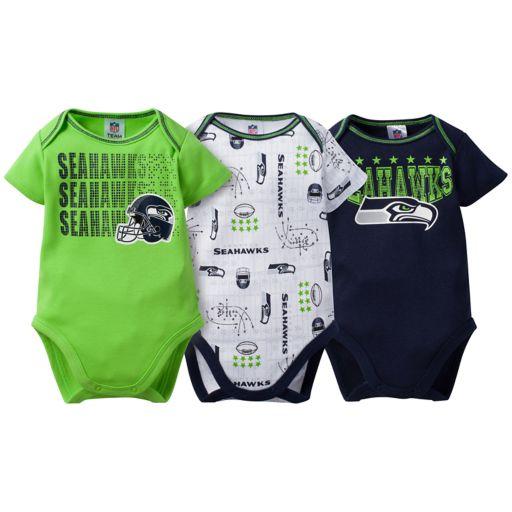 Baby Seattle Seahawks 3-Pack Bodysuit Set