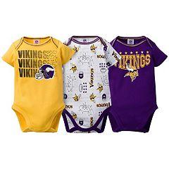 Baby Minnesota Vikings 3-Pack Bodysuit Set