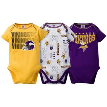 Baby Minnesota Vikings 3-Pack Bodysuit Set