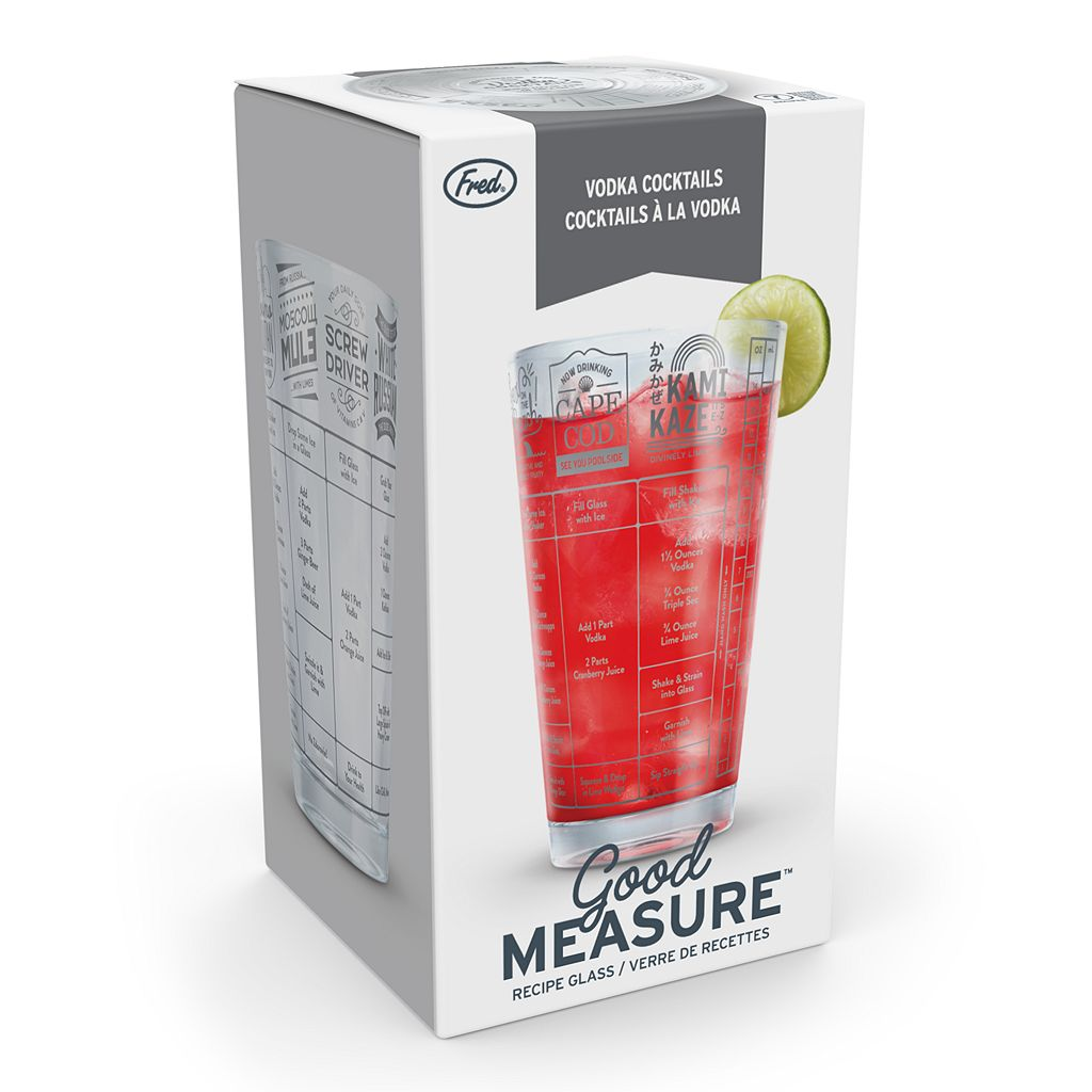 Fred & Friends Good Measure Drink Recipe Measuring Glass