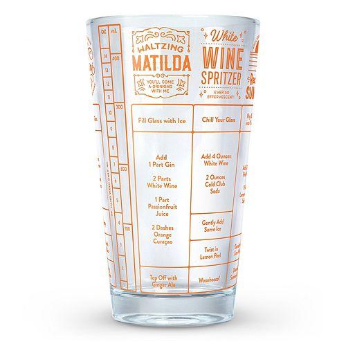 Fred & Friends Good Measure Drink Recipe Measuring Glass