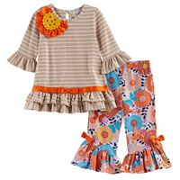 Baby Girl Rare Editions Striped Flower Applique Top & Patterned Bell Bottom Leggings Set