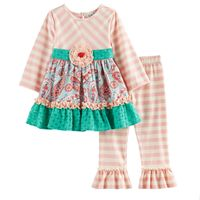 Baby Girl Rare Editions Paisley Lace Top & Leggings Set