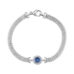 Sterling Silver Mesh Cubic Zirconia Halo Bracelet