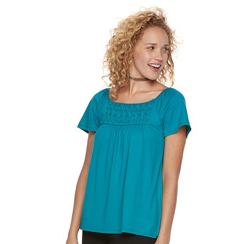 Juniors' Trixxi Print Ruched Tee