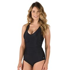 Women's Speedo Tummy Slimming V-Neck One-Piece Swimsuit