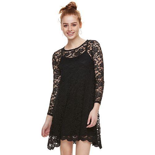 Juniors' Wallflower Lace Swing Dress