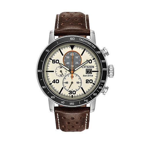 Citizen Eco-Drive Men's Brycen Leather Chronograph Watch - CA0649-06X