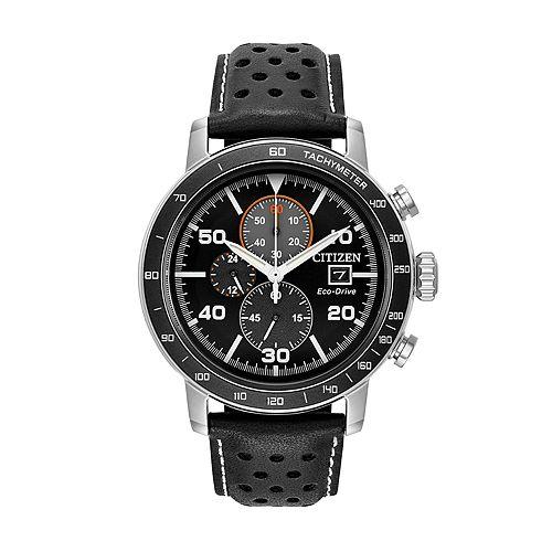 Citizen Eco-Drive Men's Brycen Leather Chronograph Watch - CA0649-14E