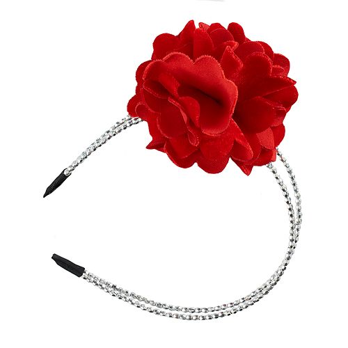 Girls 4-16 Velvet Flower Beaded Headband