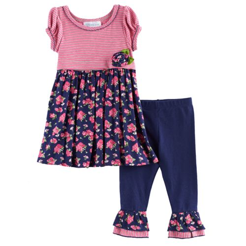 Baby Girl Bonnie Jean Stripe & Floral Tunic & Leggings Set
