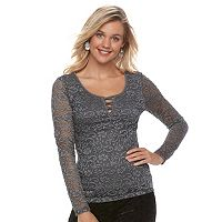 Juniors' Candie's® Criss-Cross Lace Top