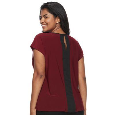 Juniors' Plus Size Wrapper Colorblock Necklace Top
