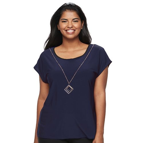 Juniors' Plus Size Wrapper Colorblock Necklace Top