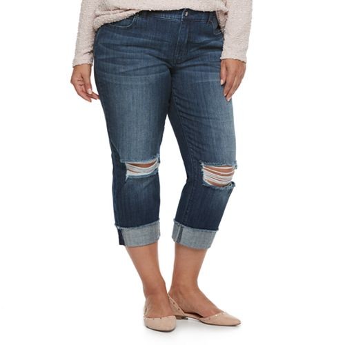 Plus Size Jennifer Lopez Ripped Capri Jeans