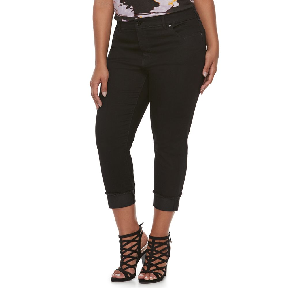 6a9044c6f1b Plus Size Jennifer Lopez Black Rockin Capri Pants