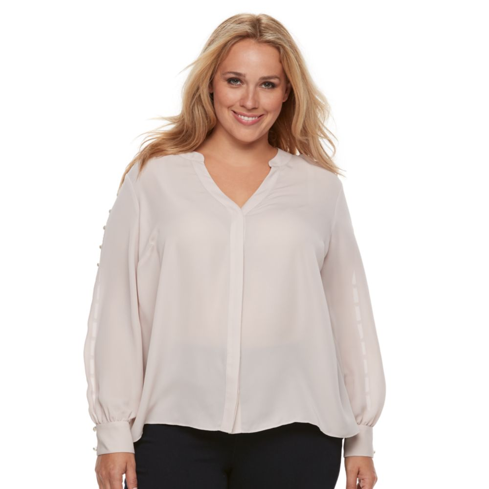 size jennifer lopez pearl accented button-up top