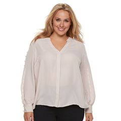 Plus Size Jennifer Lopez Pearl Accented Button-Up Top