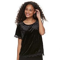 Juniors' Rewind Velvet Lace-Trim Tee