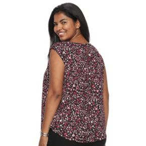 Juniors' Plus Size Candie's® Print Lace Inset Top