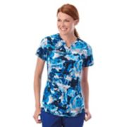 Plus Size Jockey Scrubs Classic Placket Print Short Sleeve Top
