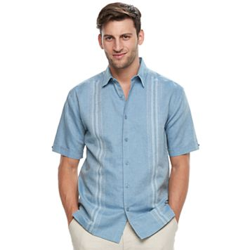 Men's Havanera Classic-Fit Paneled Linen-Blend Button-Down Shirt