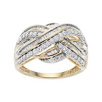 10k Gold 1 Carat T.W. Diamond Crisscross Ring