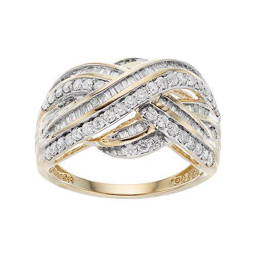 10k Gold 1 Carat T.W. Diamond Crisscross Ring
