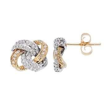 Two Tone 10k Gold 1/4 Carat T.W. Diamond Knot Stud Earrings