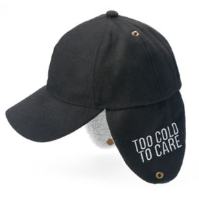 """Women's """"Too Cold To Care"""" Lined Ear Flap Baseball Cap"""