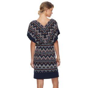 Petite Chaya Geometric Dolman Dress