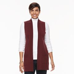 Women's Croft & Barrow® Open Front Long Vest