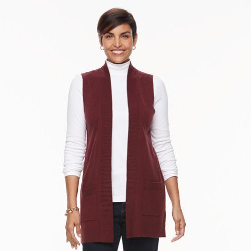 Women's Croft & Barrow® Open Front Long Vest