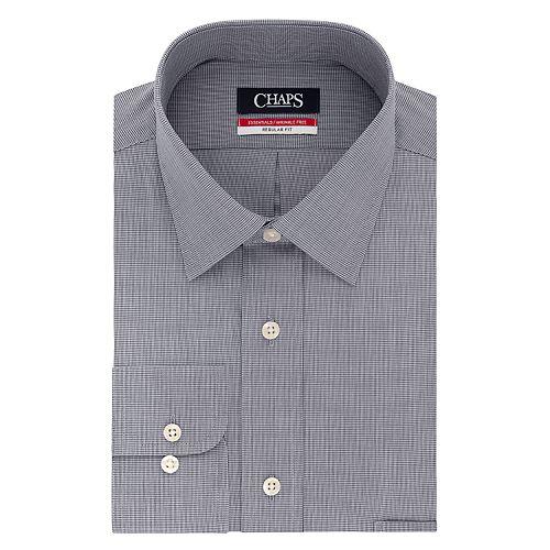Men's Chaps Essentials Regular-Fit Microcheck Wrinkle-Free Stretch Collar Dress Shirt