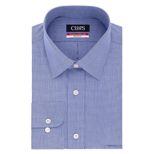 Men's Chaps Essentials Regular-Fit Microcheck Wrinkle-Free Stretch Collar Dress Shirt