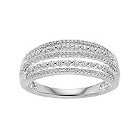 Simply Vera Vera Wang 10th Anniversary Sterling Silver 1/3 Carat T.W. Diamond Multi Row Ring