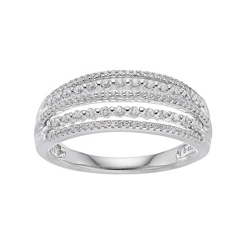 Simply Vera Vera Wang 10th Anniversary Sterling Silver 1/3 Carat T.W. Diamond Multi Row Ring