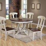 Baxton Studio Napoleon Round Pedestal Dining Table & Chair 5-piece Set