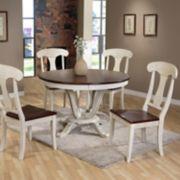 Baxton Studio Napoleon Round Pedestal Dining Table & Chair 5-piece Set