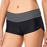Women's Speedo Striped-Waist Boyshort Swim Bottoms