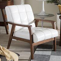 Baxton Studio Mid-Century Faux-Leather Arm Chair