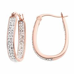 Chrystina Silver Plated Crystal Inside Out U-Hoop Earrings