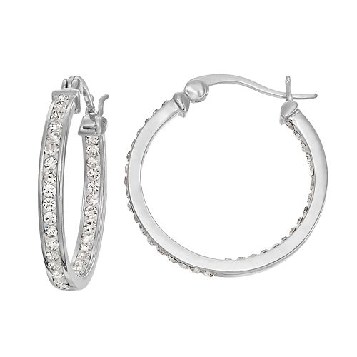 Chrystina Silver Plated Inside Out Crystal Hoop Earrings