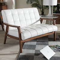 Baxton Studio Mid-Century Faux-Leather Loveseat