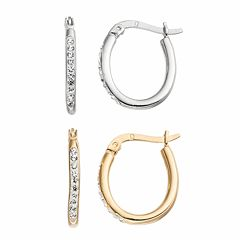Chrystina Silver Plated Crystal Oval Hoop Earring Set