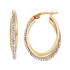 Chrystina Silver Plated Crystal Twist Oval Hoop Earrings