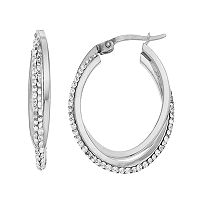 Chrystina Silver Plated Crystal Twist Oval Hoop Earrings