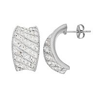 Chrystina Silver Plated Concave C-Hoop Earrings