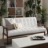 Baxton Studio Mid-Century Faux-Leather Sofa